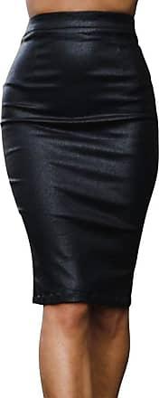 JERFER Womens Autumn Winter Elastic Autumn High Waisted Skirt Bodycon Below Knee Skirt Black
