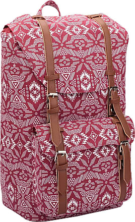 Quenchy London Backpack Casual Daypack for Girls and Women, Medium Canvas School Size A4 Bag 45cm x30x9 25 Litre QL916 (Geometric Red)