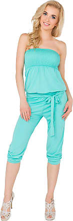 FUTURO FASHION Womens 3/4 Length Jumpsuit with Belt Bandeau Playsuit Catsuit Sizes 8-14 1083 Aqua