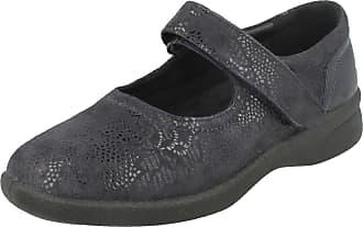 Padders Ladies Dual Fit Flat Shoes Sprite 2 - Navy Floral Print Leather - UK Size 4 3E/4E - EU Size 37 - US Size 6