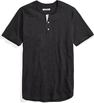 Goodthreads Mens Short-Sleeve Lightweight Slub Henley, Caviar/Black, Small