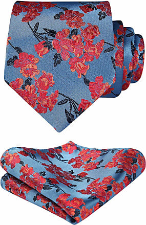 Hisdern Floral Paisley Wedding Party Tie Handkerchief Mens Necktie & Pocket Square Set Blue/Orange