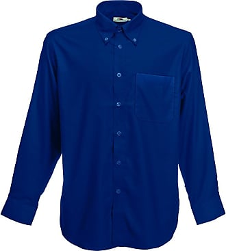 Fruit Of The Loom Mens Long Sleeve Oxford Shirt Casual, Blue (Blue Navy 32), 3XL
