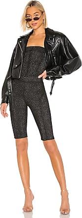 Kendall + Kylie Metallic Stretch Strapless Bike Short Catsuit in Black