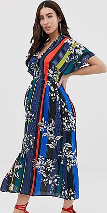65a92f1fc1e Queen Bee wrap front maxi dress with thigh split in contrast floral stripe  print