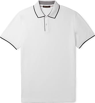 Loro Piana Contrast-tipped Stretch Cotton-piqué Polo Shirt - White