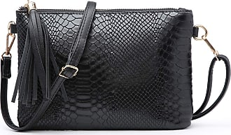 Craze London NEW Womens Small Clutch Bags with Wristlet and Long Adjustable Strap,Adjustable strap With Purse or small Shoulder bag Croc Design (Black)