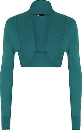 Momo & Ayat Fashions Ladies Long Sleeve Cotton Shrug Bolero Ribbed Collar Size 8-14 (S/M (UK 8-10), Teal)