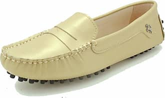 MGM-Joymod Womens Rubber Sole Slip-on Casual Comfortable Champagne Leather Driving Loafers Flats Outdoor Hiking Slide Boat Shoes 5.5 M UK