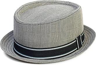 Hat To Socks Prince of Wales Check Pattern Pork Pie Hat (59 cm, Light Grey)