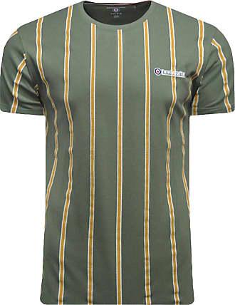 Lambretta Mens Stripe Pique TEE T-Shirt, Green (Beetle Beetle), XX-Large (Size:2XL)