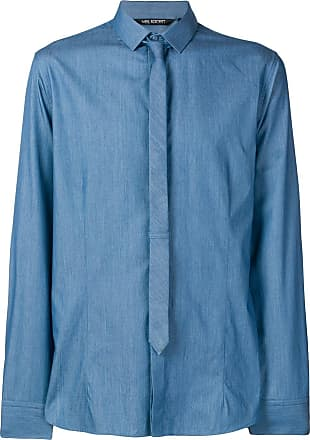 Neil Barrett Camisa com gravata fina - Azul