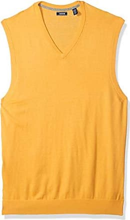 Izod Mens Big and Tall Premium Essentials Solid V-Neck 12 Gauge Sweater Vest, Sunset Gold, 4X-Large