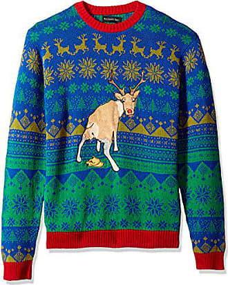 Blizzard Bay Mens Sick Reindeer Ugly Christmas Sweater, Large