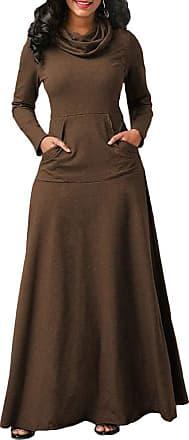 TOMWELL Women Maxi Dress Long Sleeve Baggy Ball Gown Solid Pocket Party Long Dresses Kaftan Brown UK 14