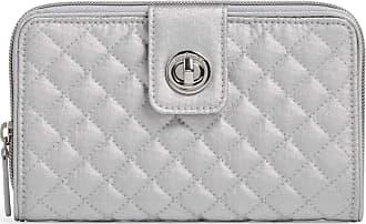 Vera Bradley Womens RFID Turnlock Wallet, Silver Pearl, One size