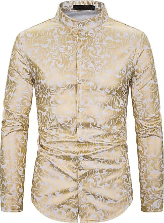 Whatlees Mens Hipster Gold Flowers Floral Printed Baroque Slim Fit Long Sleeve Dress Shirt White 02010192XWhite+S
