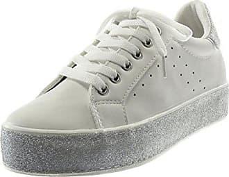 Angkorly Damen Schuhe Sneaker - Tennis - Sporty chic - Plateauschuhe -  Glitzer - Perforiert - a58cb83bce