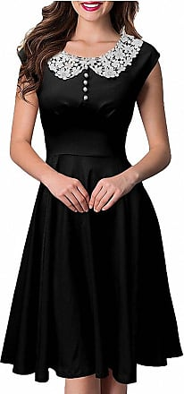 Isshe Women Lace Collar Vintage Cap Sleeve Rockabilly Party Swing Dress for Ladies Black