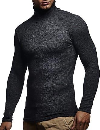 LEIF NELSON Mens Sweater Long Sleeve Sweatshirt Turtleneck LN-8118 Anthracite Medium