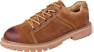 Insun Mens Padded Collar Plain Toe Oxford Boot Low-top Brown UK 4.5