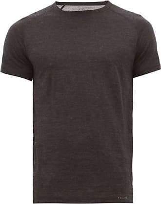 Falke Raglan Sleeve Wool-blend Jersey T-shirt - Mens - Dark Grey