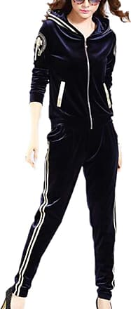 Hellomiko Ladies 2 Piece Velour Tracksuit Zipper Gym Yoga Workout Running Pants Outfit Sport Wear Suit