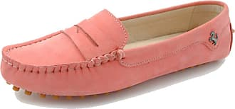 MGM-Joymod Womens Rubber Sole Slip-on Casual Comfortable Pink Leather Driving Loafers Flats Outdoor Hiking Slide Boat Shoes 6.5 M UK