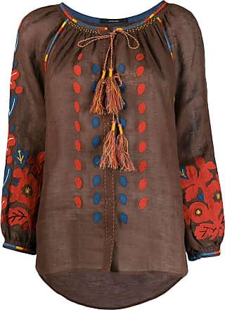 Vita Kin Blusa com patch floral - Marrom