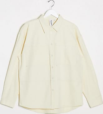 Collusion Unisex - Hemdjacke in Ecru mit Kontrastnähten-Weiß