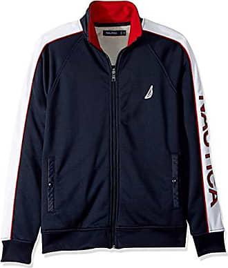 Nautica Mens Full Zip Track Jacket Sweatshirt, Navy, XX-Large