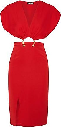 Haney Haney Woman Kerr Embellished Cutout Stretch-silk Dress Red Size 8