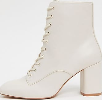 Stradivarius lace up ankle boots in white
