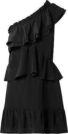 Iro Iro Woman Brooka One-shoulder Ruffled Washed-silk Mini Dress Black Size 34