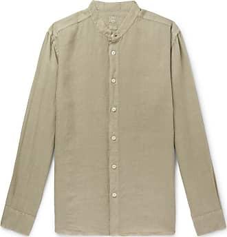 120% CASHMERE Grandad-collar Garment-dyed Linen Shirt - Green