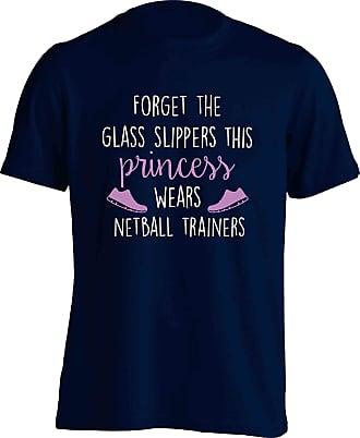 Flox Creative Adults T-Shirt Glass Slippers Princess Netball Boots Navy Large