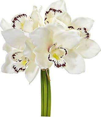 Nearly Natural 2250-S6-CR 9 Cymbidium Orchid Artificial Bundle (Set of 6) Silk Flowers Cream
