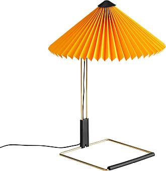 HAY Matin LED Tischleuchte S - gelb Pantone 109 U/Baumwolle/PVC/Schirm Ø30cm/H 38cm/Fuß 17,4x17,4cm/Messing poliert/Touch-Schalter-Dimmer/LED 5W