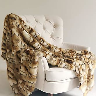 Plutus Brands Brandy Gold and White Faux Fox 60W x 72L Throw