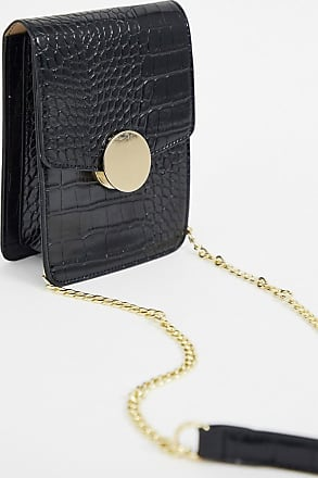 Warehouse crossbody bag with clasp detail in black croc