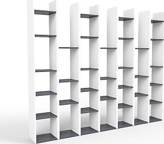 MYCS Bücherregal Weiß - Modernes Regal für Bücher: Hochwertige Qualität, einzigartiges Design - 272 x 233 x 35 cm, Individuell konfigurierbar
