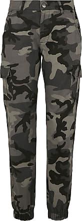 Urban Classics Ladies High Waist Camo Cargo Pants - Cargohose - darkcamo