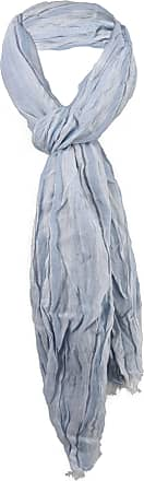 TigerTie Crashed scarf in blue light blue striped with fringes - size 180 x 50 cm