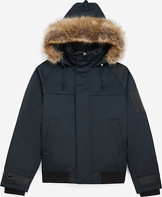 The Kooples Navy blue down jacket in cotton with leather - MEN