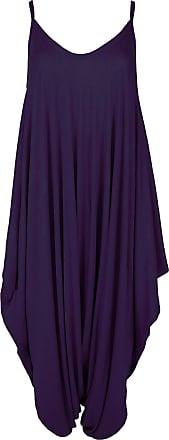 Be Jealous New Womens Ladies Cami Thin Strap Lagenlook Romper Baggy Harem Jumpsuit Playsuit M/L (UK 12/14) Purple