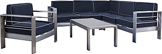 BEST SELLING HOME Outdoor Best Selling Home Cape Coral Aluminum 5 Piece Sectional Patio Conversation Set Silver - 303389