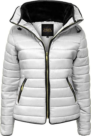 Love my Fashions Womens Jacket Parka Padded Puffer Bubble with Faux Fur Fitted Collar - Ladies Quilted Hood Outwear Long Sleeve Curved Hem Winter Knitted Zip Up Warm C