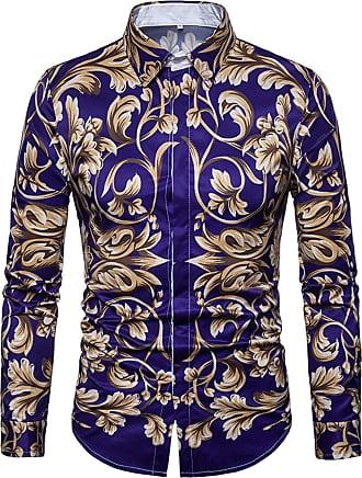 Whatlees Mens Golden Flower Casual Slim Fit Stylish Long Sleeve Dress Shirts Purple 02020022X34+XL