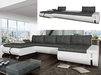 Venta-Unica.com Sofá cama rinconero XXL de tela y piel sintética AZELMA - Ángulo reversible - Blanco y gris
