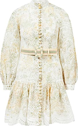 Zimmermann Kleid Amelie Short Dress mit Lochspitze Weiß/Multi